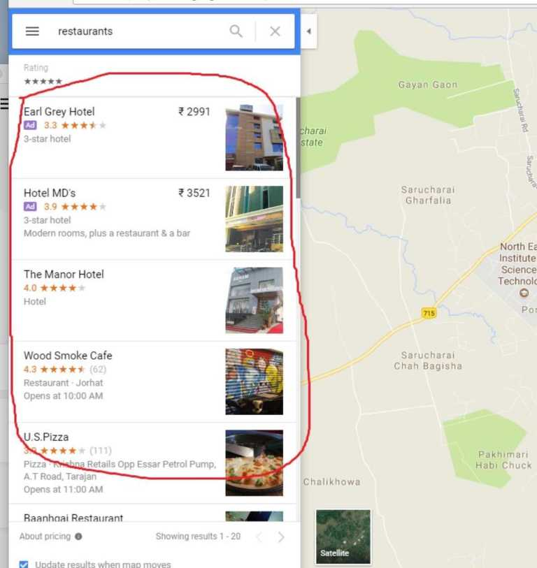 location of popular dishes and restaurants features added to google maps