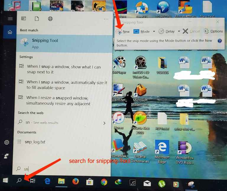 Snipping tools on windows 10