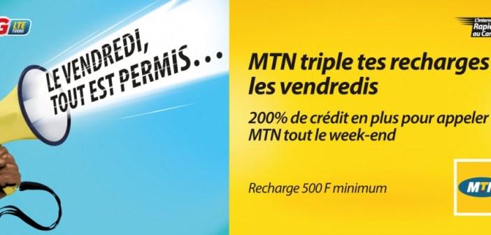 Amazing Friday : MTN offre 200% de bonus sur les recharges les vendredis