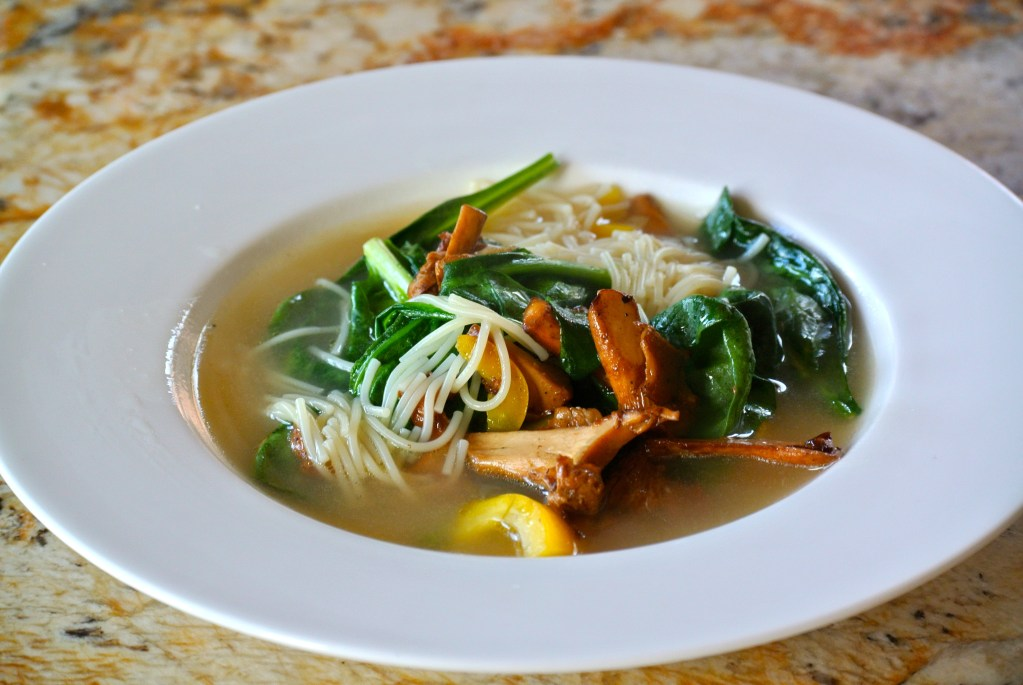 Chanterelle and Spinach Soup