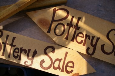 new pottery sale signs
