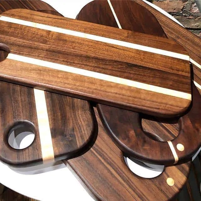 First Look: Our stunning new black walnut boards. Locally made by Möbius Objects and perfect as chopping blocks, serving trays, charcuterie platters or sushi boards. Looking to impress mom? Look no further than Lemonceillo Home & Gift.