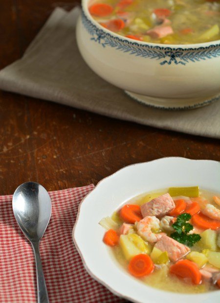 poisson légumes bouillon