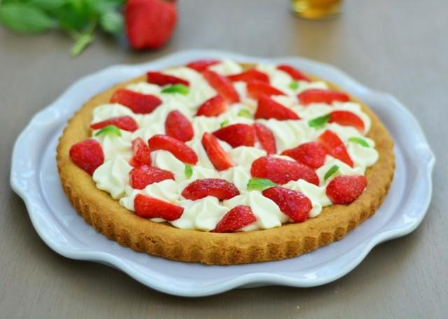 tarte aux fraises et ganache montée basilic