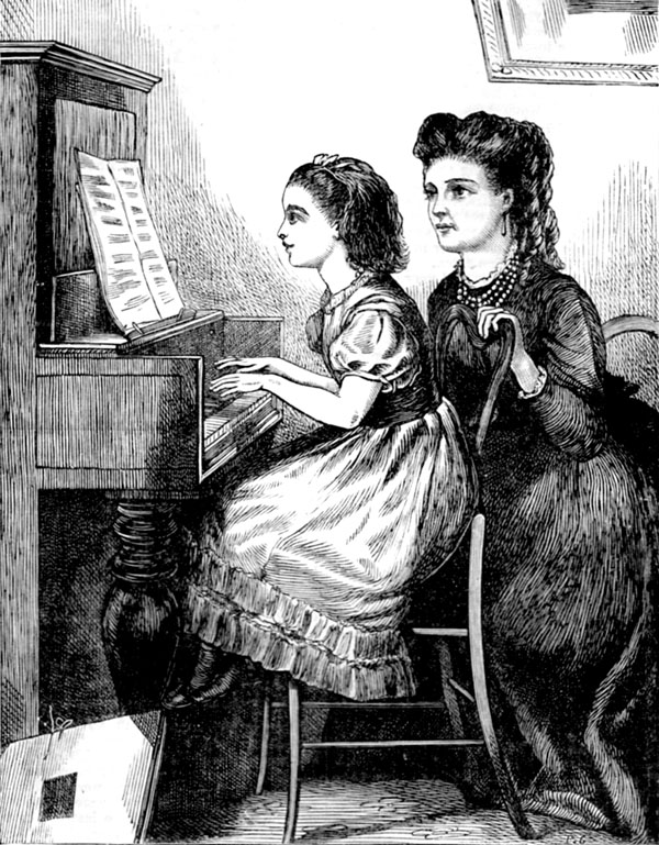 victorian girls with piano
