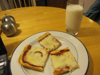 pizza and milk