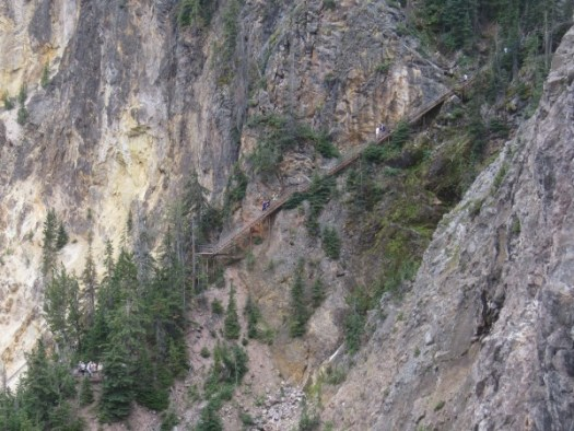 Uncle Tom's Trail; look carefully, and you'll see steps going down the cliff with a platform at the bottom left.