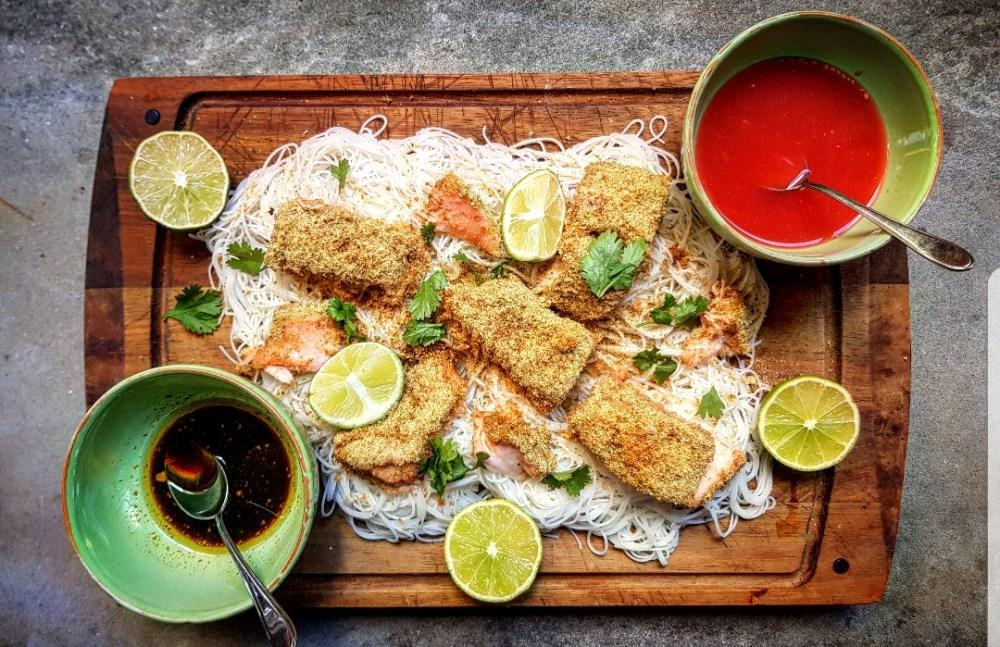 vermicelli with baked salmon fresh cilantro