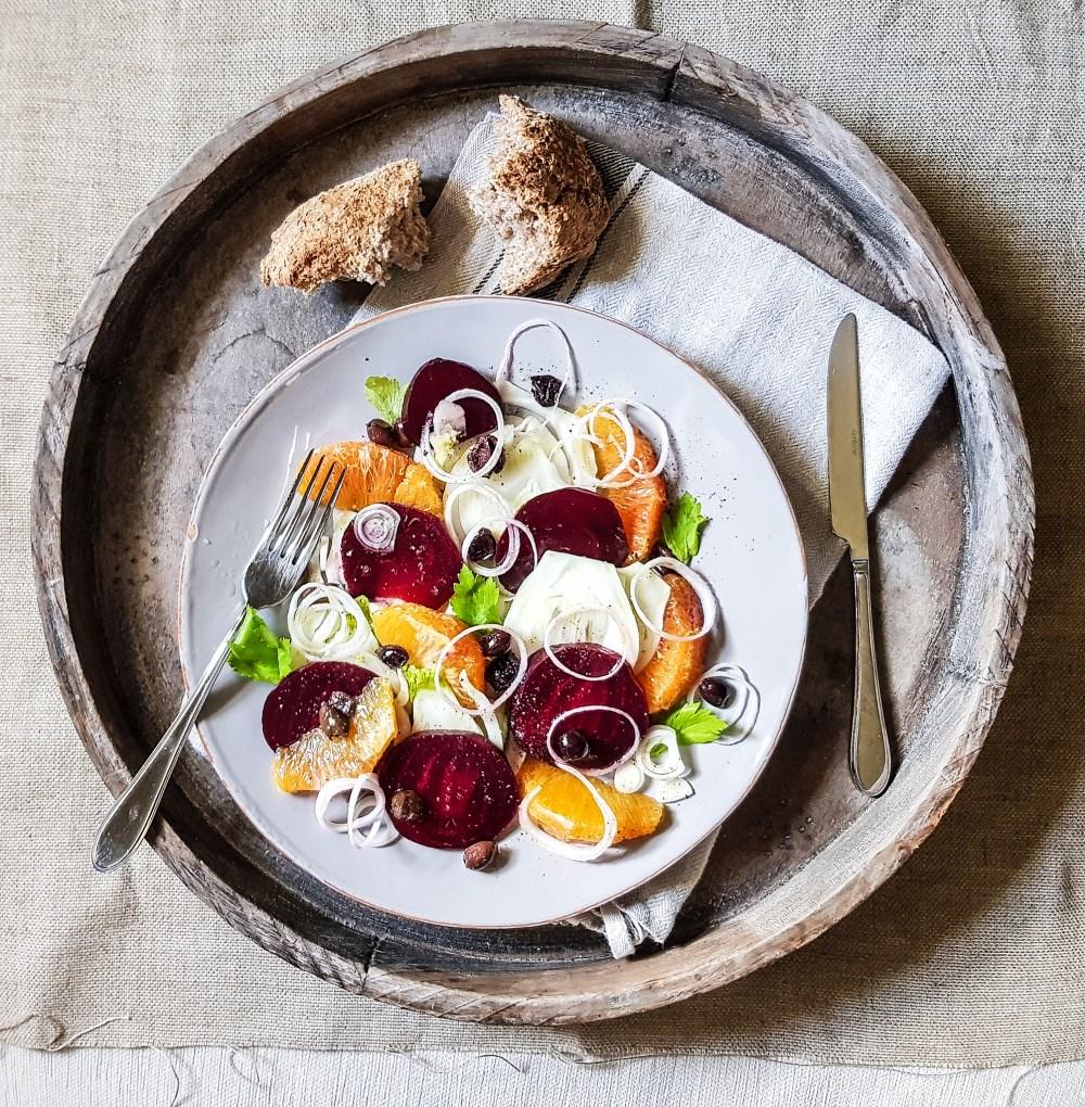 insalata barbe rosse arance finocchi olive