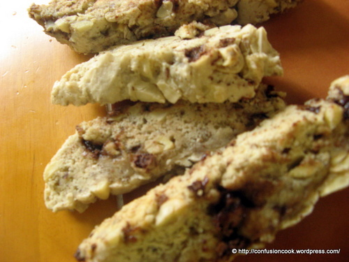 Eggless Chocolate Almond Biscotti