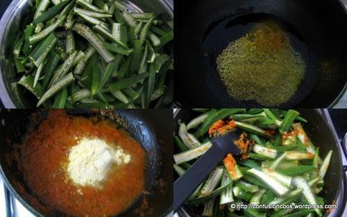 Okra in Gramflour Gravy (Bhindi in Besan Gravy)