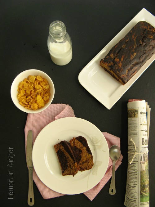 Eggless Whole Wheat Chocolate Marble Banana Bread
