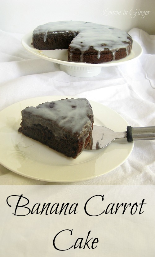 Eggless Banana Carrot Chocolate Cake with Buttermilk Vanilla Bean Glaze