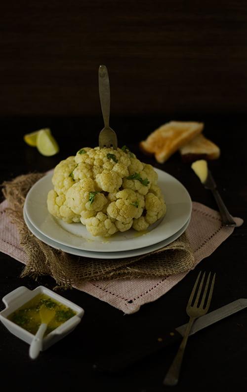 Steamed Cauliflower with Lemon Sauce