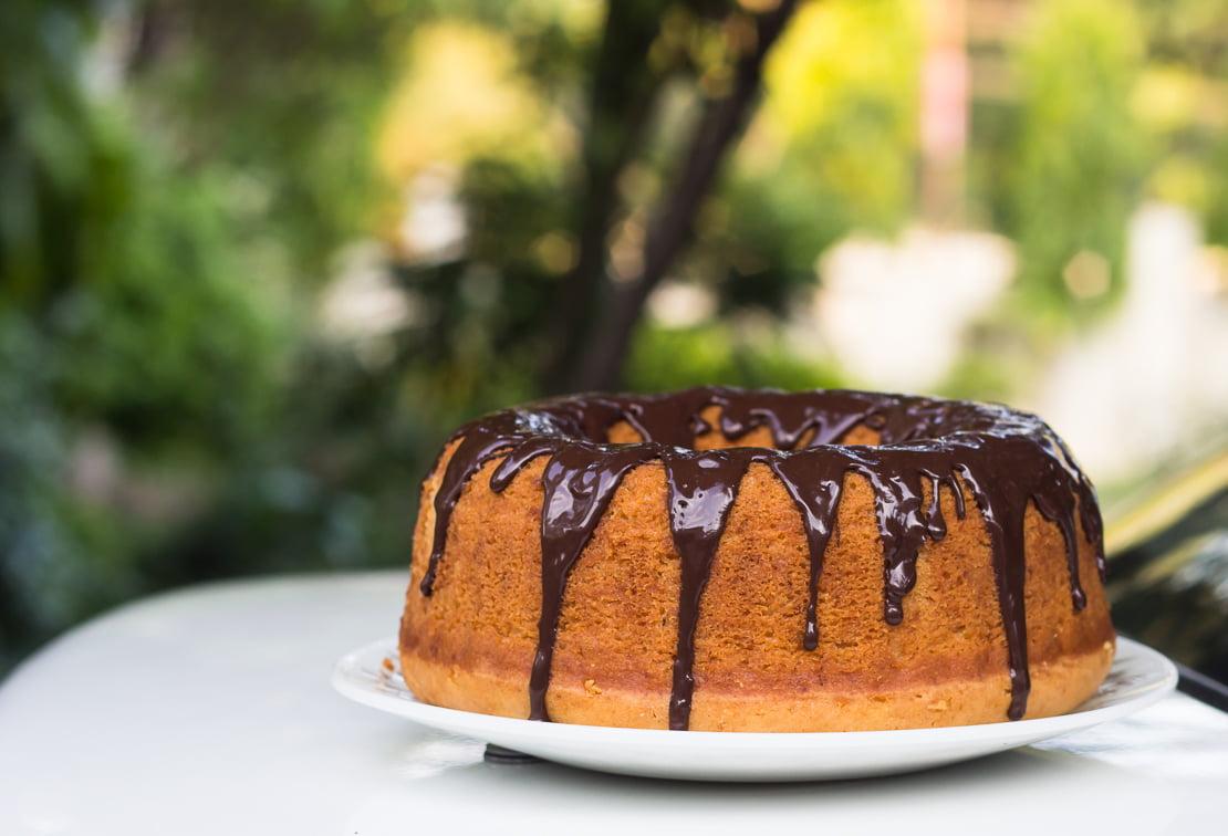 Eggless Vanilla Bundt Cake with Chocolate Glaze