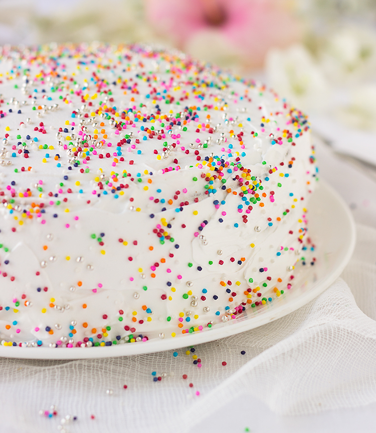 Sprinkle Birthday Cake with Whipped Cream
