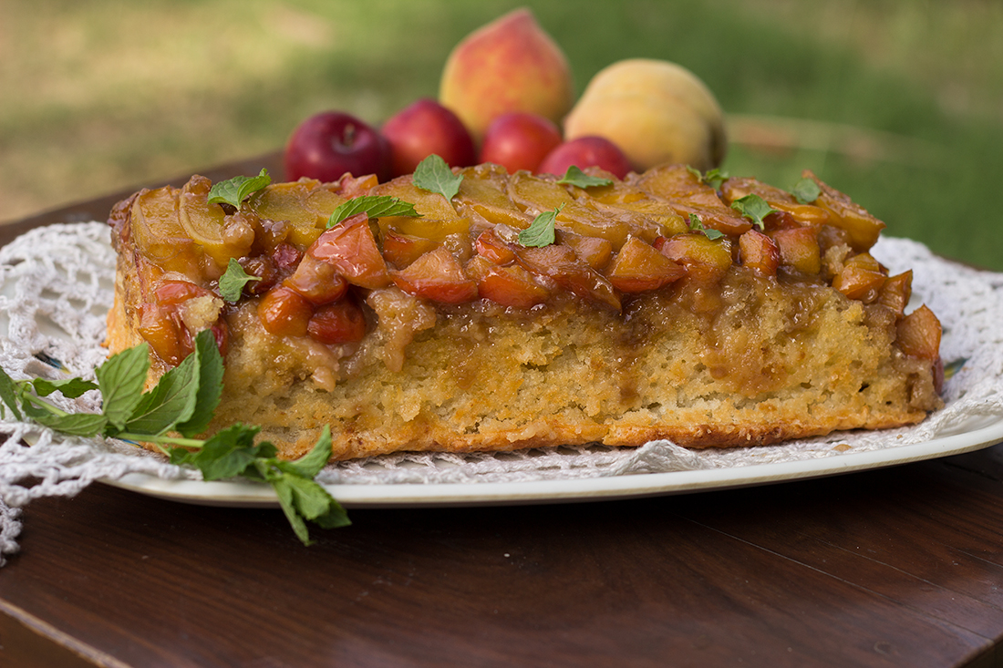 Peach and Plum Upside Down Cake