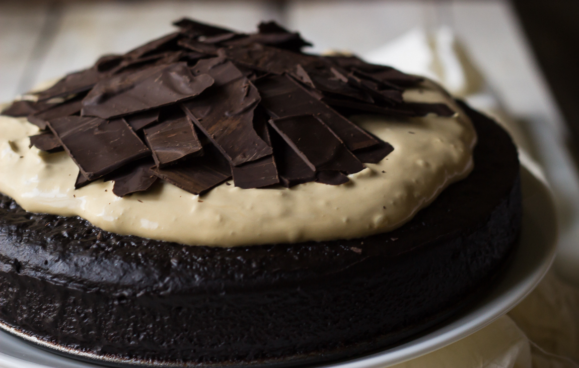 Chocolate Mud Cake with Mascarpone Coffee Topping