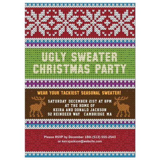 Super Knitted Looking Ugly Christmas Sweater Party Invitation