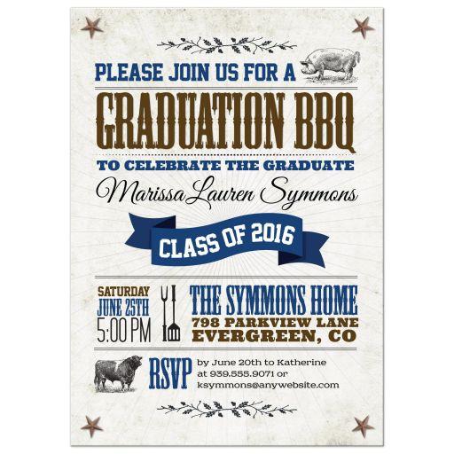 Rustic Pig Cow Graduation BBQ Invitation