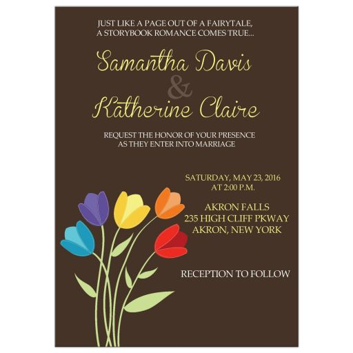 Tulip Flower Rainbow Colors Wedding Invitation