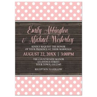 Wedding Invitation - Blush Pink Polka Dot Rustic Wood
