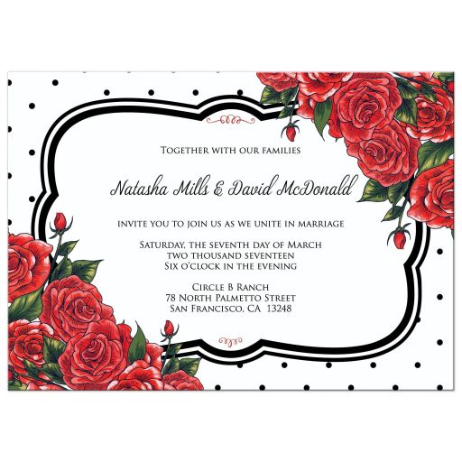 Wedding Invitation - Black Polka Dots with Red Roses