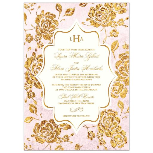 Vintage blush pink, ivory and gold rose floral monogram wedding invitation