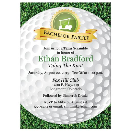 Bachelor Party Invitation | Golf, Golfing Theme | Golf Ball, Grass