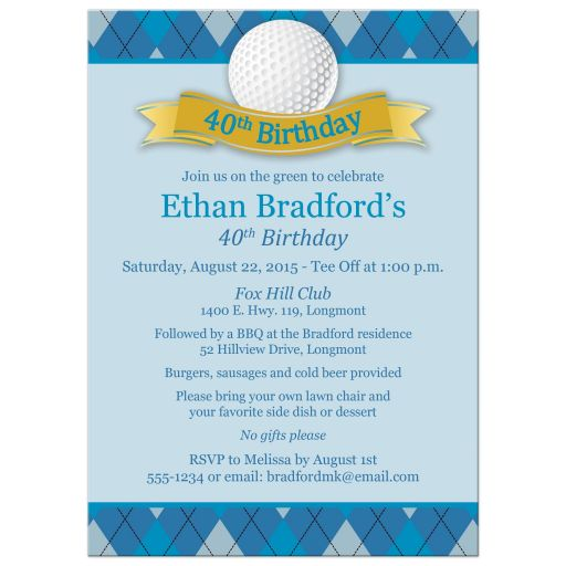 40th Birthday Party Invitation | Golf Theme | Blue, Gray, White Argyle Plaid, Golf Ball