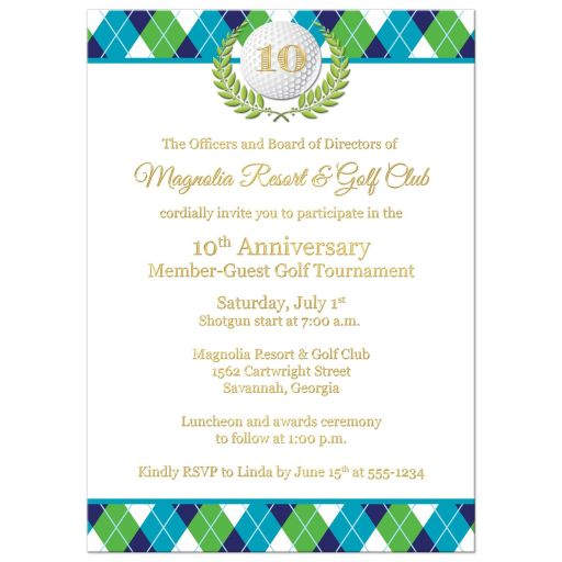 Corporate Golf Tournament Invitation | Blue, Green, White | Argyle Plaid, Golf Ball