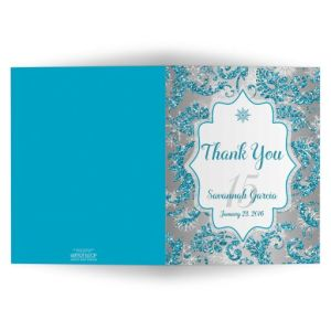 Quinceañera PHOTO Thank You Card | Winter Wonderland Turquoise, Silver Faux Glitter | Snowflakes