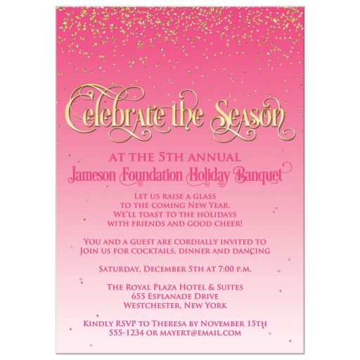 Pink Gold Celebrate the Season Corporate Holiday Party Invitation
