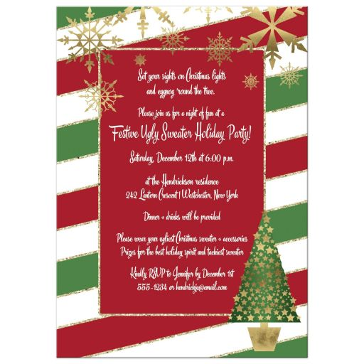 Red Green Stripes Tree Ugly Christmas Sweater Party Invitation