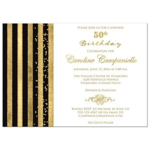 50th Birthday Invitation | Black, White, Gold Stripes | Faux Glitter, Simulated Gold Foil, Scroll