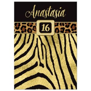 Wild Animal Print, Faux Gold Foil Birthday Party Invitation