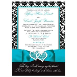 Wedding Invitation - PHOTO Optional | Black and White Damask | PRINTED Turquoise Ribbon & Double Hearts