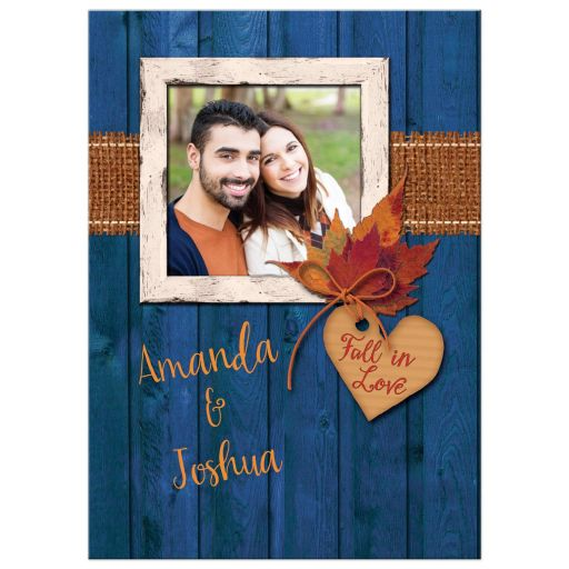 Photo Template Wedding Invitation, Fall in Love, Autumn Leaves, Faux Burlap, Blue Wood