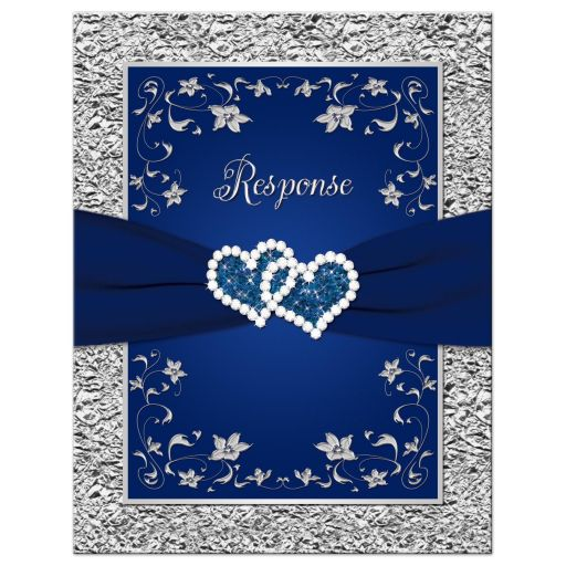 Wedding response card | Navy blue and silver joined hearts jewel floral