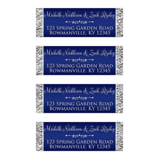 Wedding address labels | Navy blue and silver joined hearts jewel floral