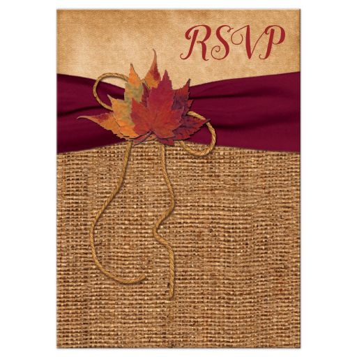 Rustic Fall Wedding RSVP Card | Leaves on Faux Burlap and Wine Ribbon