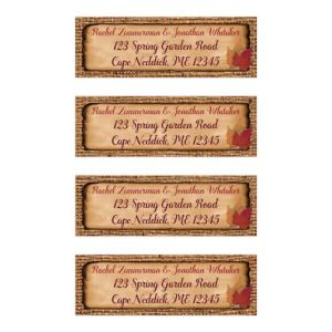 Personalized Fall Wedding Address Labels | Dried Leaves, Brown Burlap, Aged Paper