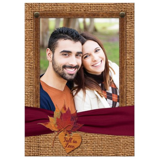Rustic Fall Photo Wedding Invitation | Leaves on Faux Burlap and Wine Ribbon