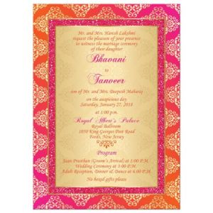 Orange, Fuchsia, Gold Damask Faux Pink Glitter Wedding Invitation