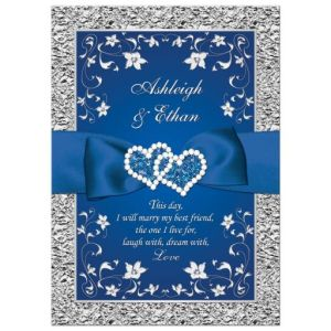 Royal Blue Silver Double Hearts Ribbon Wedding Invitatio