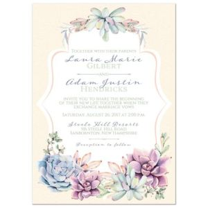 Pastel Wedding Invitation | Watercolor Succulents Garden | Peach, Ivory, Green, Lavender