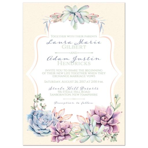 Pastel succulent wedding invitation