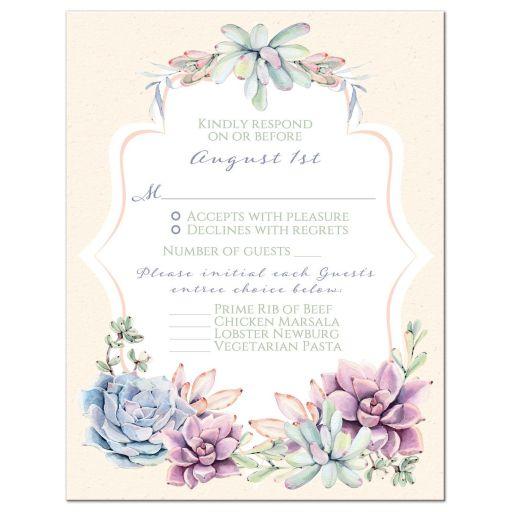 Pastel Succulent Wedding Invitation Set NiteOwl Studios