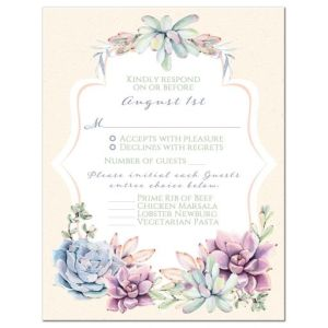 Watercolor Wedding RSVP Card | Pastel Succulents Garden | Peach, Ivory, Green, Lavender