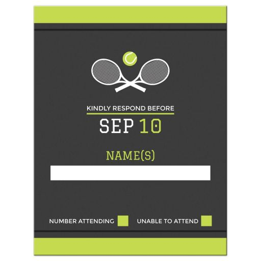 Modern Tennis Bar Mitzvah RSVP card with rackets and tennis ball